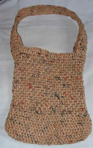 Crochet Plastic Bag Tote Pattern : Pattern - Plastic Granny Square Tote Bag