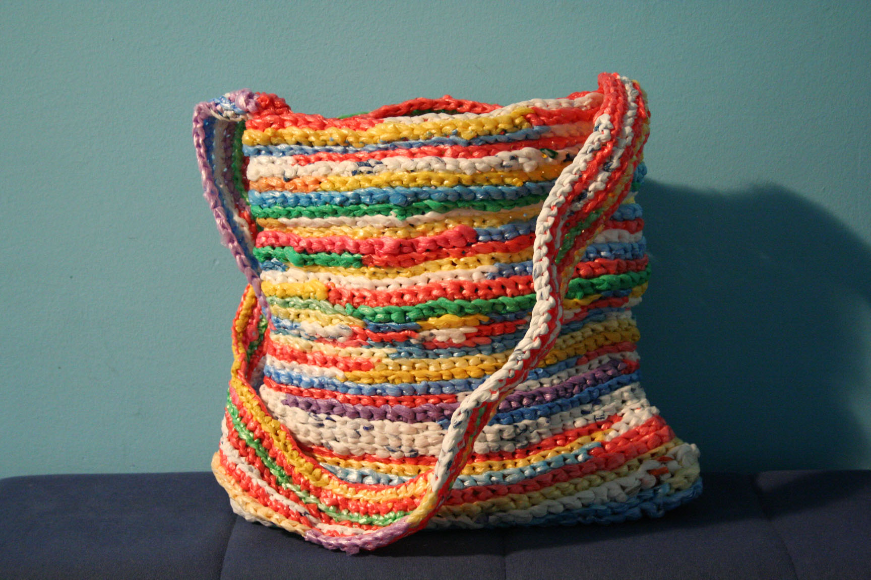 Crocheting Using Plastic Bags : Crocheted Plastic Bag Shoulder Bag (made by Kisha of Serbia ...